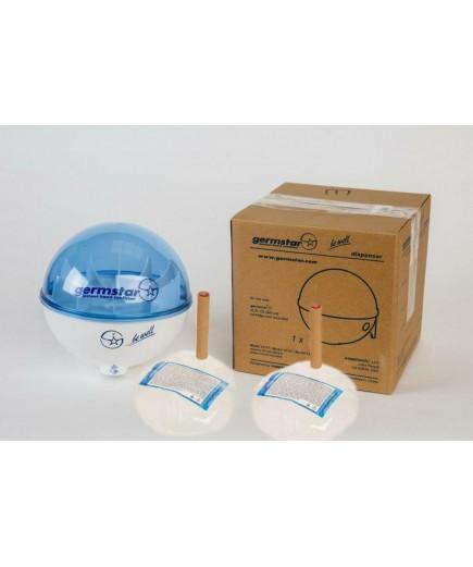 Бесконтактный дозатор Germstar (бело-синий) c Germstar Original дезинфицирующим средством для рук (емкостью 946 мл. - 2шт)