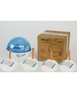 Бесконтактный дозатор Germstar (бело-синий) c Germstar Original дезинфицирующим средством для рук (емкостью 946 мл. - 4шт)