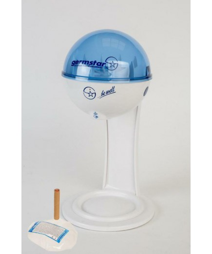 Бесконтактный Настольный дозатор Germstar (бело-синий) c Germstar Original дезинфицирующим средством для рук (емкостью 946 мл. - 1шт)