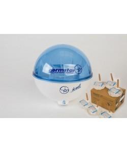 Бесконтактный дозатор Germstar (бело-синий) c Germstar Original дезинфицирующим средством для рук (емкостью 946 мл. - 6шт)