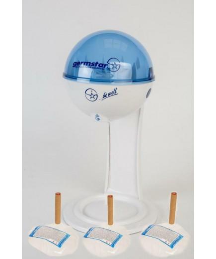 Бесконтактный Настольный дозатор Germstar (бело-синий) c Germstar Original дезинфицирующим средством для рук (емкостью 946 мл. - 3шт)