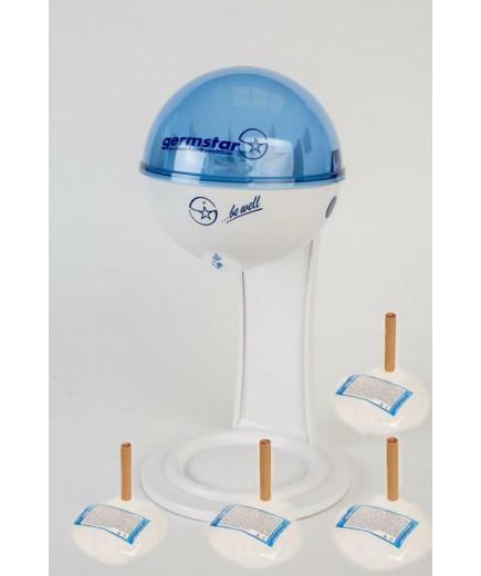 Бесконтактный Настольный дозатор Germstar (бело-синий) c Germstar Original дезинфицирующим средством для рук (емкостью 946 мл. - 4шт)