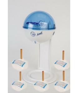 Бесконтактный Настольный дозатор Germstar (бело-синий) c Germstar Original дезинфицирующим средством для рук (емкостью 946 мл. - 5шт)