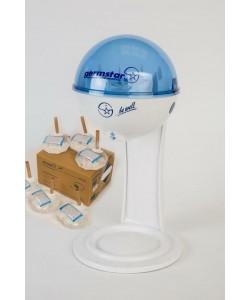 Бесконтактный Настольный дозатор Germstar (бело-синий) c Germstar Original дезинфицирующим средством для рук (емкостью 946 мл. - 6шт)